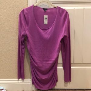 Ann Taylor Ruched Scoop Neck Sweater Medium